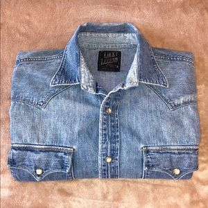 LUCKY BRAND DISTRESSED WESTERN SHIRT